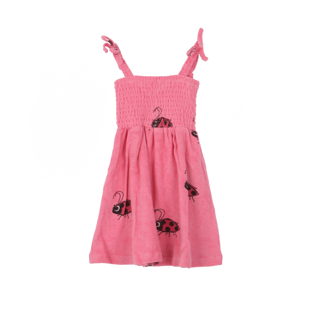 TERRY 80'S DRESS_PINK LADYBUG