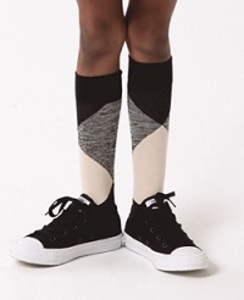 [AW17-277]geometric high socks__beige/black