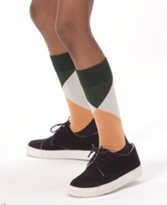 [AW17-279]geometric high socks_dark green/light blue