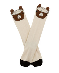 [AW17-294]llamas heads high socks_beige/brown