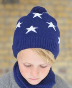 cashmere mini star hat_navy