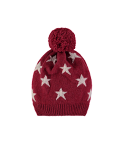 cashmere mini star hat_berry