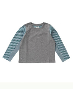 SLEEVES_SHIRT/GREY MARL WITH GREEN GINGHAM