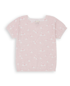 GIRL  SHORT SLEEVE SWEATER SWAN_ROSE DOUCEUR