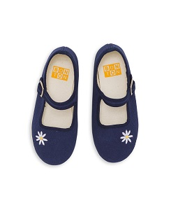 GIRL  SLIPPERS  WITH EMBROIDED  DAISY AND  BUCKLE