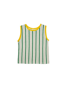 SLEEVELESS T-SHIRT_GREEN STRIPE