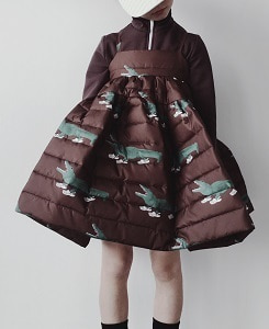 캐롤라인보스만 PRINTED MATELASSE MAXI WIDE DRESS_CROC BROWN