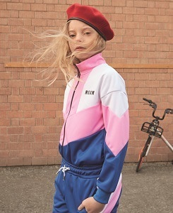 MSGM FULL-ZIP TRIACETATO GIRL_ROSA-BIANCO